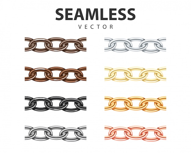 Big collection different metal chain seamless texture. silver, gold, platinum, iron, copper color chains link set isolated on white .