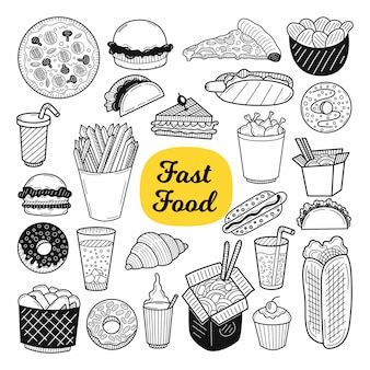 Big collection of food elements. hand drawn sketch