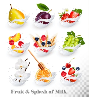 Big collection of fruit in a milk splash. raspberry, strawberry, mango, vanilla, peach, apple, honey, orange, pear, grapes.
