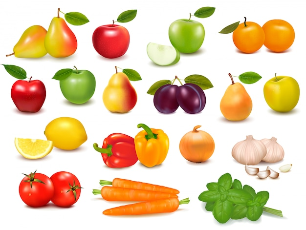 Big collection of fruits and vegetables  illustration