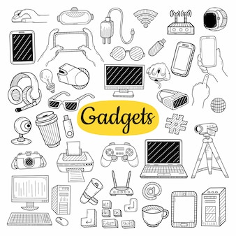 Big collection of gadgets elements. hand drawn sketch