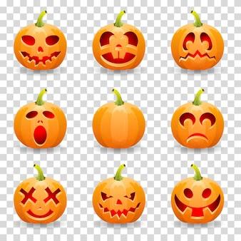 Большая коллекция тыквы на хэллоуин джек о'лантерн, на прозрачном фоне, векторные иллюстрации