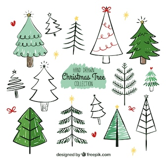Big collection of hand drawn christmas trees