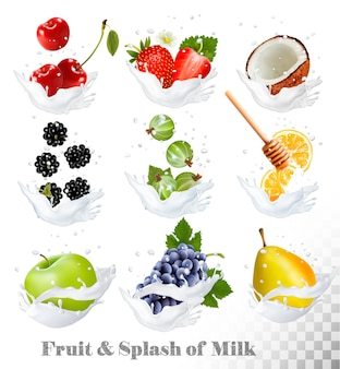 Big collection of icons of fruit and berries in a milk splash. pear, orange, strawberry, grapes, apple, blackberry, cherry, coconut, honey, gooseberry