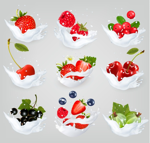 Big collection of icons of fruit and berries in a milk splash. raspberry, blackberry, strawberry, cherry, blackcurrant, blueberry.