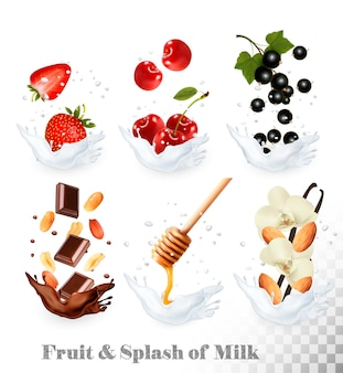 Big collection of icons of fruit and berries in a milk splash. strawberry, vanilla, honey, nuts, chocolate, cherry, blackcurrant, peanut.