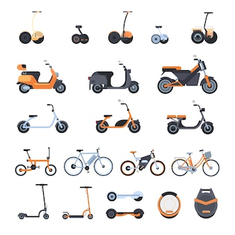Big collection of modern eco transport elements: electric bikes, scooters, monowheel and gyroscooter isolated