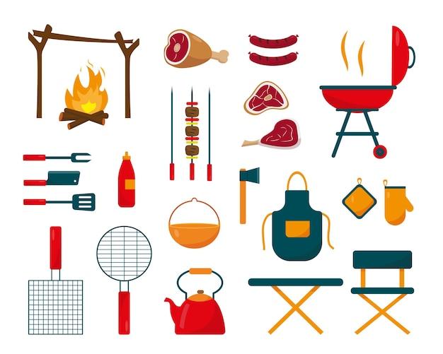 夏休みや週末のコンセプトデザインのためのバーベキュー要素やアイコンの大きなコレクション。