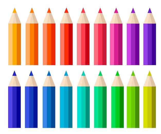 色鉛筆の大きなコレクション。漫画のスタイル。白い背景の上の図