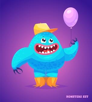 귀여운 괴물의 큰 컬렉션. 할로윈 캐릭터. 삽화