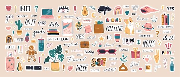 일기와 할 일 목록에 대한 귀여운 주간 유행 플래너 스티커의 큰 컬렉션