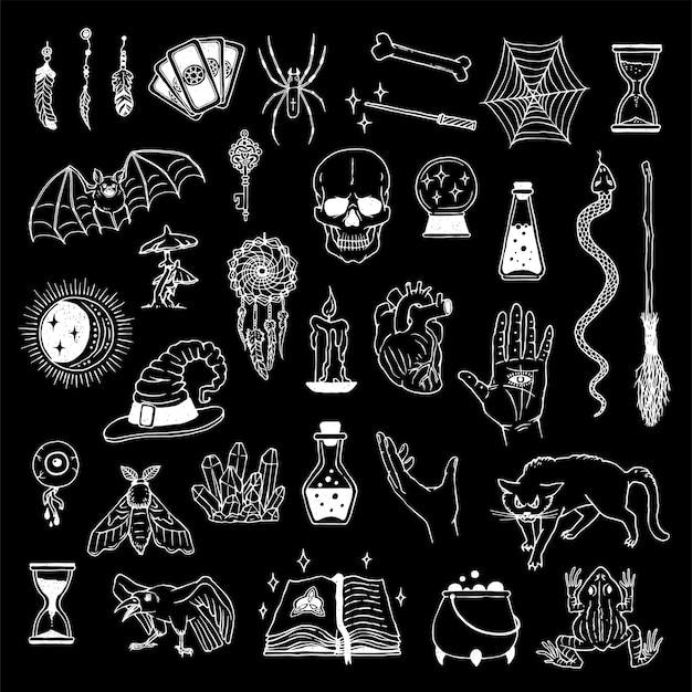 신비 롭고 신비 롭고 신비한 요소의 큰 컬렉션. 점성술 주술 세트, 손금 및 연금술.