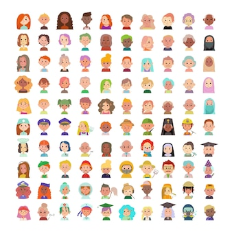 人々のアバターの大きなコレクション。さまざまな国籍や職業の漫画のキャラクター。