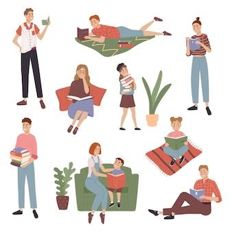 本を持つ大きなコレクションの人々
