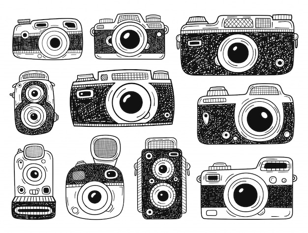 Big collection of photo cameras elements