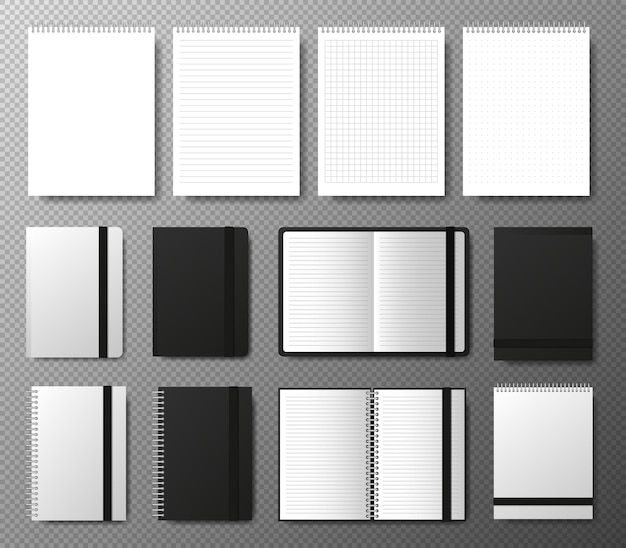 Big collection realistic blank black open and closed copybook template with elastic band and bookmark on transparent background four realistic notebooks lines and dots paper page
