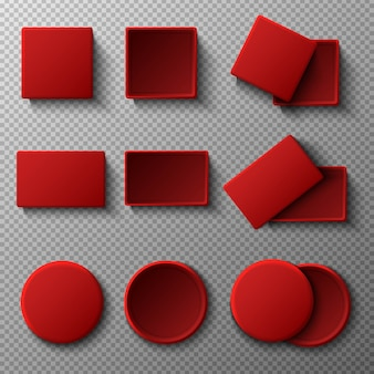 Big collection of   red boxes with and without cover.  illustration icon on transparent background. top view. square, rectangular and round shape.