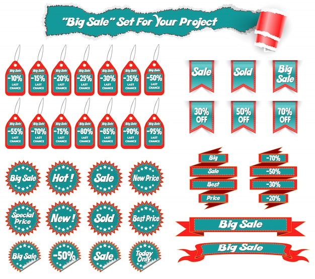 Big collection sale stickers and web ribbons set. vector illustration