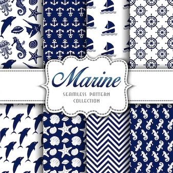 Big collection of seamless patterns with marine elements