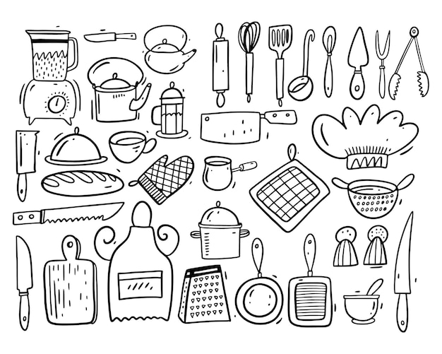 Big collection set kitchen objects. cartoon style. balck ink. isolated.