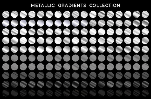 Big collection of silver and black metallic gradients set