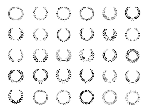 Big collection of thirty different circular black vector laurel wreaths or circlets  for heraldry  antiquity  award  victory and excellence
