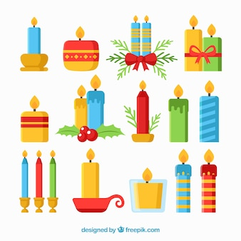 Grande collezione di varie candele di natale