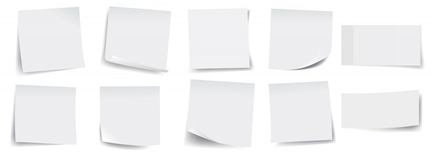 Big collection of white sticky notes