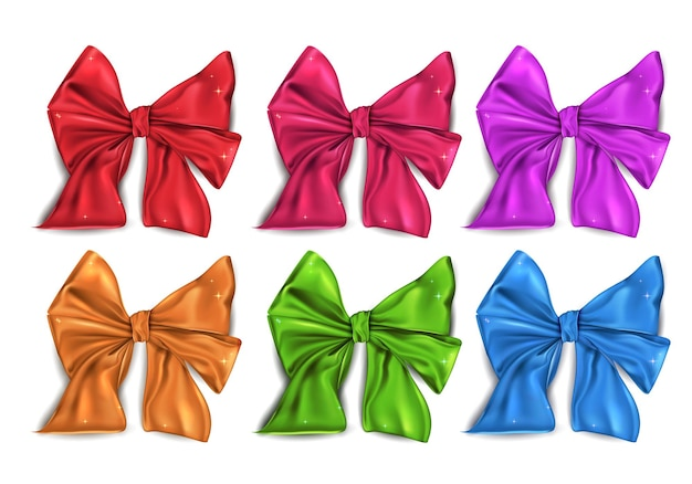 Big colored collection of satin bows isolated