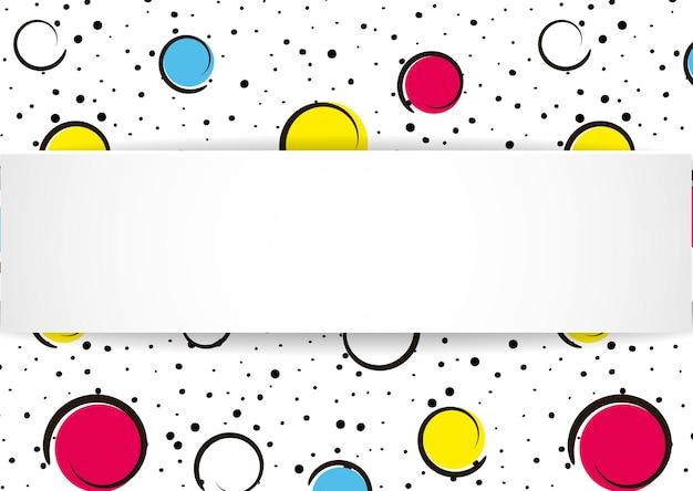 흰색에 검은 색 점과 잉크 선이있는 큰 색의 반점과 원.
