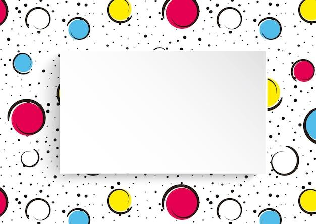 黒い点とインクの線が付いた大きな色のスポットと円。