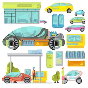 Big colorful flat set of eco electro cars and charge stations isolated on white background
