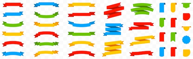 Big colorful set ribbon banners on isolated background. ribbon elements. label, tag and quality badges collection. simple ribbons set. red, green, blue and yellow banner. flat style
