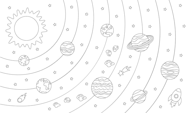 Big coloring page with planets of solar system and star. black and white picture.