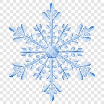 Big complex translucent christmas snowflake in blue colors for use on light background