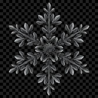 暗い背景で使用するための灰色の大きく複雑な半透明のクリスマススノーフレーク。ベクトル形式のみの透明度