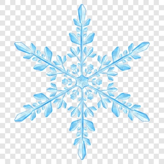明るい背景で使用するための水色の大きく複雑な半透明のクリスマススノーフレーク。ベクトル形式のみの透明度