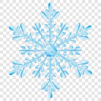 Большая сложная полупрозрачная новогодняя снежинка в голубых тонах для использования на светлом фоне