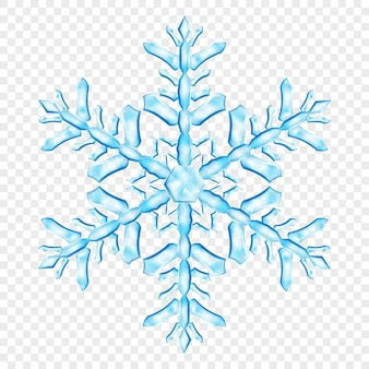 Большая сложная полупрозрачная рождественская снежинка в голубых тонах, изолированная на прозрачном фоне. прозрачность только в векторном формате
