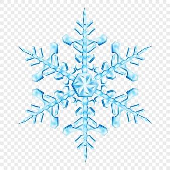 透明な背景に分離された、水色の大きく複雑な半透明のクリスマススノーフレーク。ベクトル形式のみの透明度