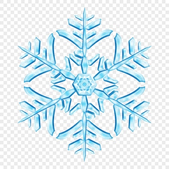 Big complex translucent christmas snowflake in light blue colors, isolated on transparent background. transparency only in vector format