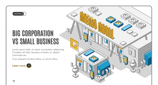 Big corporation vs small business isometric banner
