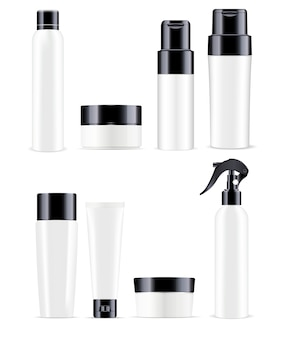 Big cosmetic bottles pack in black and white color