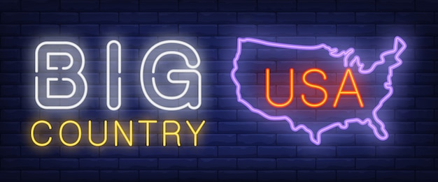 Big country neon text with usa map silhouette