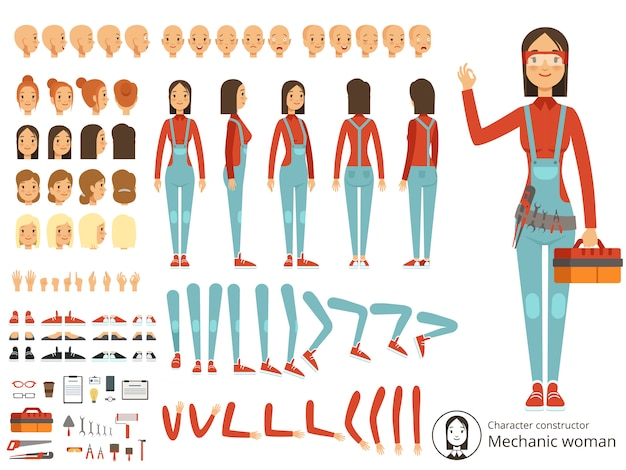 Big creation kit of girl mechanic in working clothes.