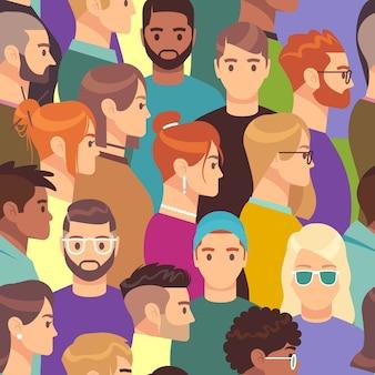大群衆パターン。さまざまな人々のグループ、男性と女性のさまざまなヘアスタイル、プロファイルヘッドの創造的な肖像画のアバター壁紙コンセプトのシームレスなテクスチャ