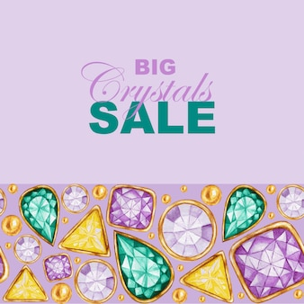 Big crystals sale. hand drawn watercolor gemstone diamond in a gold frame and jewelry beads.