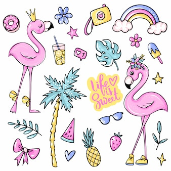 Big cute summer stickers set with flamingos, ice cream, watermelon, pineapple, rainbow, lemonade, cherry.