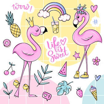 Big cute summer stickers set with flamingos, ice cream, watermelon, pineapple, rainbow, lemonade, cherry.