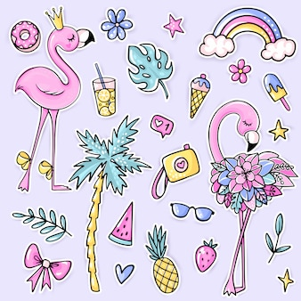 Big cute summer stickers set with flamingos, palm tree, ice cream, watermelon, sunglasses, pineapple, camera, lemonade, rainbow.